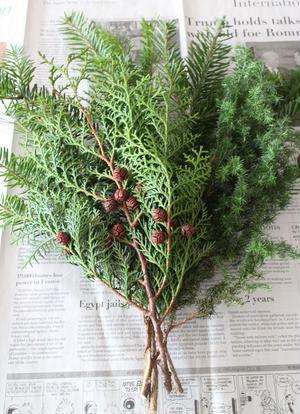 2.1のモミ枝の上にヒムロ杉、ヒノキの枝の順番に重ねていきます。基本、葉の向きや色を観察して枝の「表...