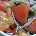 超簡単☆トマトと大葉、レッドアーリーのオリーブ塩サラダ♪