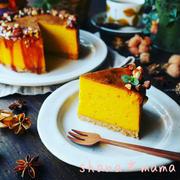 台風一過♪と、秋の収穫祭♪スイートポテプキンのキャラメルナッツチーズケーキ