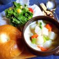カブと葉っぱのクリームスープ