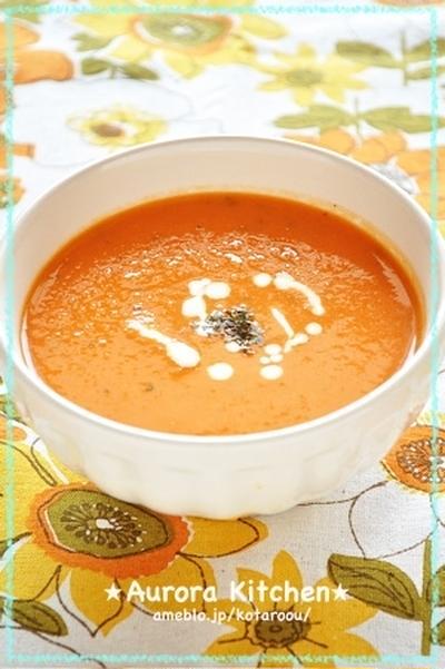 新玉ねぎのバジル風トマトポタージュスープ