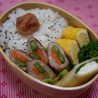 お弁当のおかずに☆豚バラ肉の野菜巻き生姜やき&2012年度「スパイス大使」