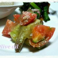 レシピ☆レンチン茄子とトマトのサラダ