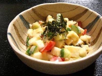 長芋とチーズの和風マヨ和えサラダ