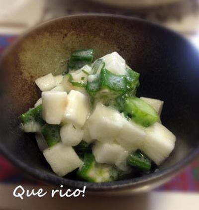 塩麹+Wのネバネバが合う!長芋とオクラの塩麹和え