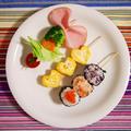 簡単朝ごはん!新提案♪「串ごはん」のワンプレート朝食*串一口おにぎり*串サラダ*串卵焼き