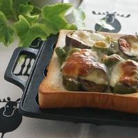 茄子とピーマンの味噌チーズトーストと報国寺