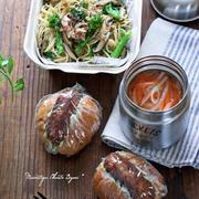 スープジャーで熱々♪パスタとメンチカツサンドのお弁当