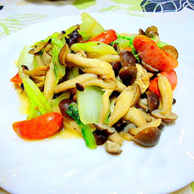 「 白菜としめじ・ソーセージの炒め物」