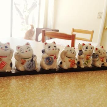 ネコの七福神とミニ獅子舞♪