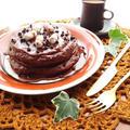 ふわふわココアパンケーキとビターチョコソース☆バレンタインレシピ