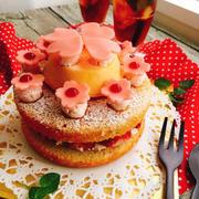 桜の塩漬けスポンジとフランボワーズバタークリームの春のケーキ〜みんなで挑戦ギネス世界記録