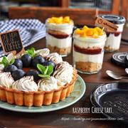 お菓子の作りおき ラズベリーレアチーズタルトとマンゴーバージョン