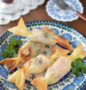 トースターで簡単おつまみ!パリパリとろ~り「プルーンとカマンベールチーズの生ハム春巻き」
