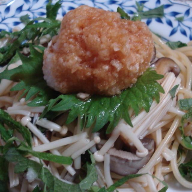 松茸の味のお吸い物deキノコパスタ