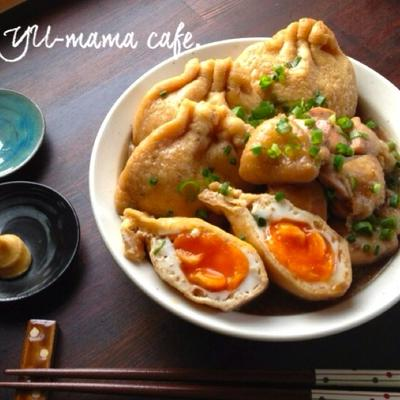 半熟 巾着卵と鶏肉のしみしみ煮 でおうちごはん。
