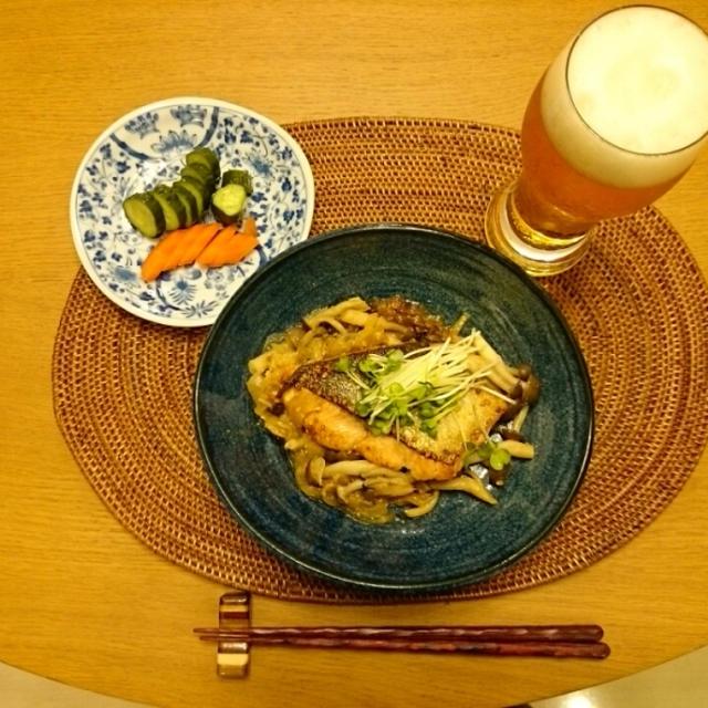 秋鮭にんにく味噌バター焼き