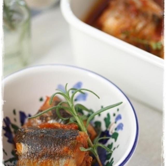 圧力鍋で骨まで柔らか秋刀魚のトマト煮♪