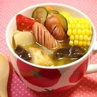だし要らず☆ツナ缶で夏野菜ごろっとスープ