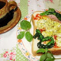 菜の花とカレースクランブルエッグのサンドイッチ by はーい♪にゃん太のママさん