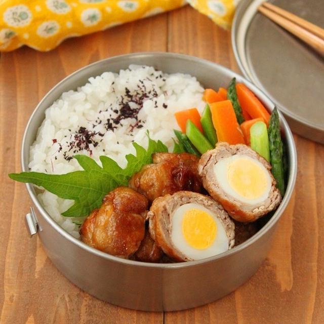 フライパン1つ!「うずら卵の肉巻き」「アスパラバター煮」2品弁当