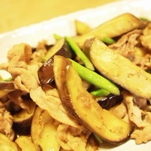 茄子、アスパラ、豚肉の炒め物