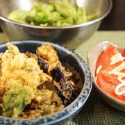 ■晩ご飯【蕗の薹と茄子の天婦羅/頂き物の蕗の薹とトマトで。】
