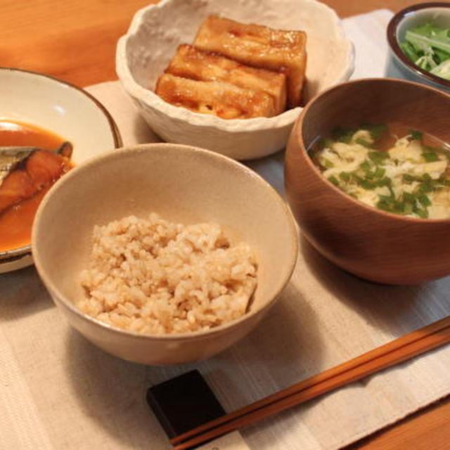 ゆうごはん**高野豆腐の揚げ煮&さばの味噌煮**