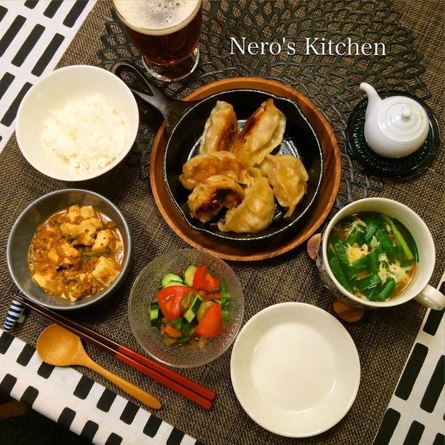 鉄鍋餃子・麻婆豆腐・ザーサイのサラダ♪