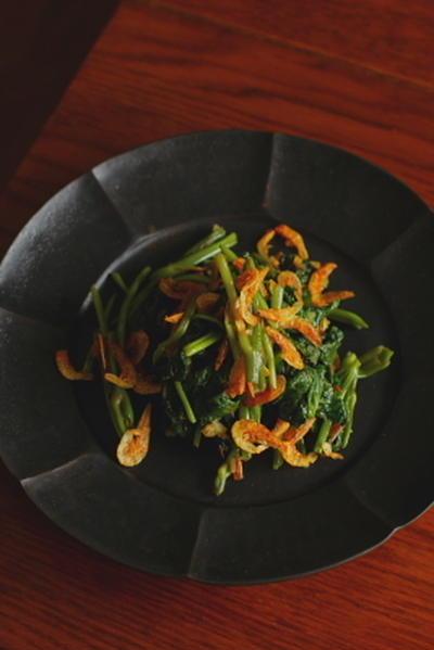 桜海老と空芯菜のにんにく炒め
