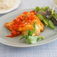 【タカラモニター】鶏胸肉のガーリックチキンステーキオニオントマトだれ