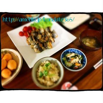 【献立206】梅と大葉でさっぱり♪いわしロール&アサリご飯