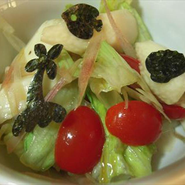 長芋とレタスのサラダ・海苔トッピング