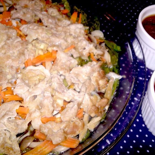 【レシピ】ソースが絶品! 蒸し豚と野菜の和風おろしソース(^^♪