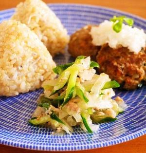 缶詰で常備菜レシピ!きゅうりのツナ和えと鯖つくねで朝ごはんワンプレート