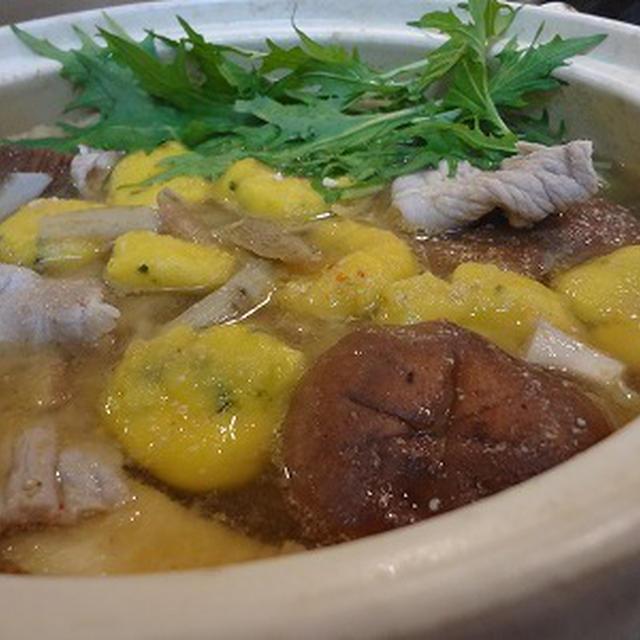 カボチャ白玉入り♪ゴボウと豚肉の胡麻味噌鍋♪