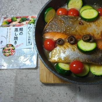 【わたしのお料理鮭の蒸し焼きガーリックソースオリーブオイル仕立て】