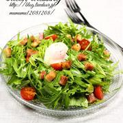 《レシピ》水菜のサラダ・ベーコンドレッシング。