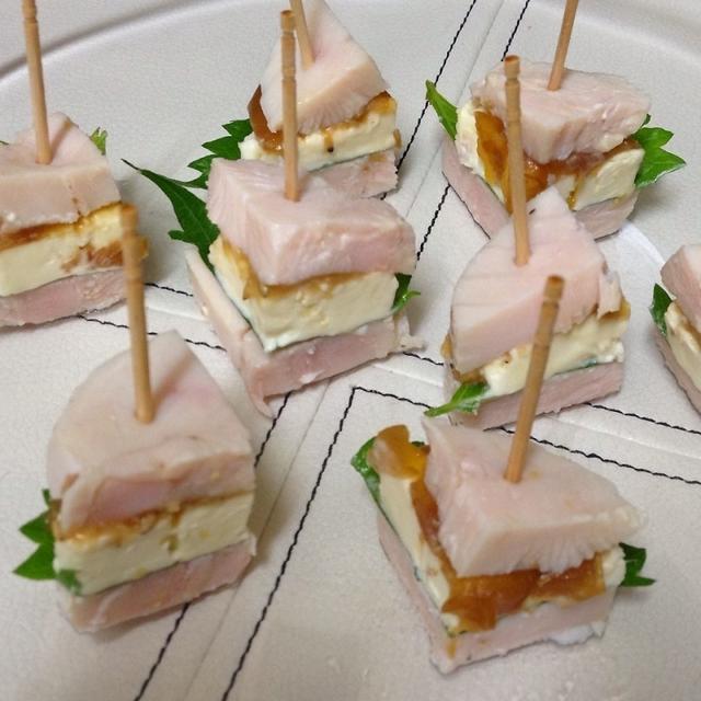 自家製鶏ハムで♪大葉とクリームチーズのピンチョス2種