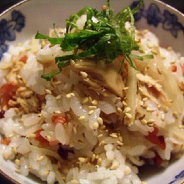 ツナと生姜と紅麹米入りご飯