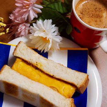 簡単朝ごはん!喫茶風☆厚焼き玉子のホットサンド
