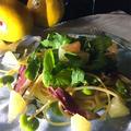 グレープフルーツをパスタに① 鴨の生ハムと空豆、ルッコラ📌