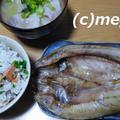ほっけの開き&桜エビと菜の花の混ぜご飯&豚汁の夕食