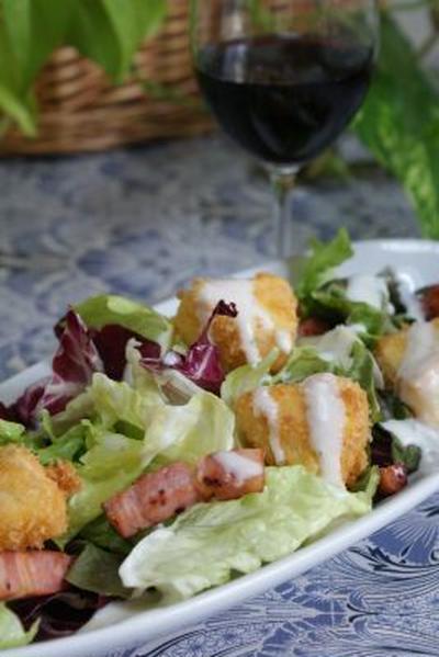 「カマンベールフライとベーコンのサラダ」「ドラゴンフルーツと生ハムのサラダ」