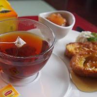 リプトン紅茶とバケットで作るフレンチトーストの朝食(^^♪
