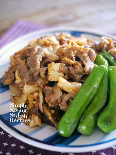 節約でスタミナもUPでヘルシー!味付け不要!豚キムチの肉豆腐