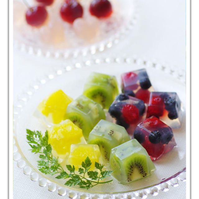 製氷皿で作る*寒天フルーツデザート