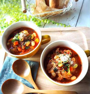大好きな味で展開できる♪とろとろ白菜と大豆のトマトスープ♡