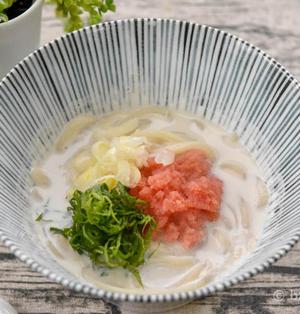 明太子ミルクうどん|おだしでおいしいあったか麺レシピ