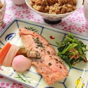 ハーブ塩鮭&お野菜たっぷり、おうち和cafeランチ